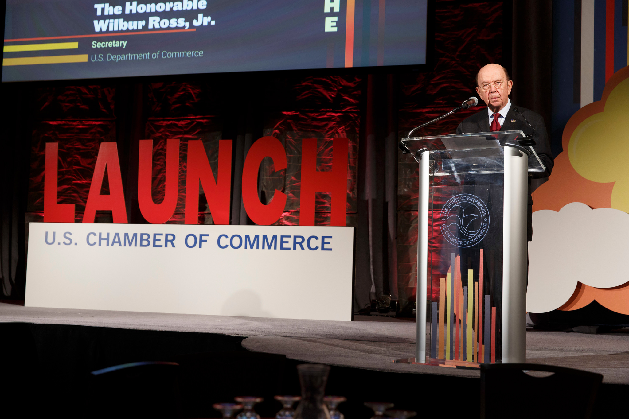 Secretary Wilbur Ross speaking at the U.S. Chamber of Commerce LAUNCH event