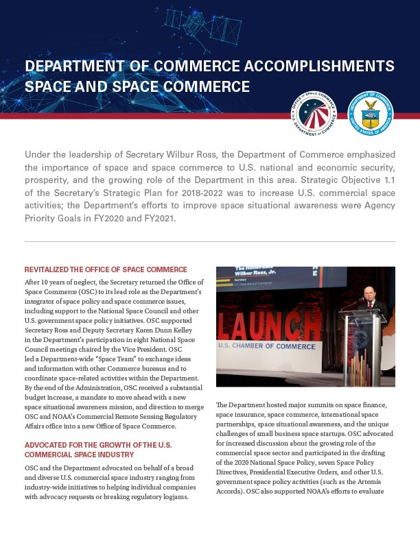 Report on DOC Accomplishments in Space Commerce