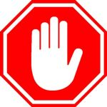 Stop sign with hand gesture