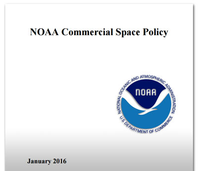 Cover of the 2016 NOAA Commercial Space Policy, cropped