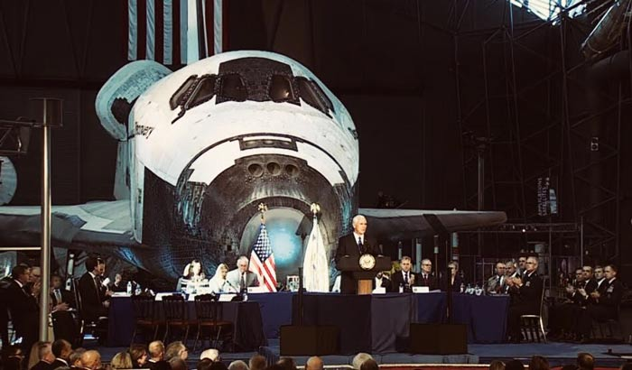 Vice President Pence at the National Space Council meeting