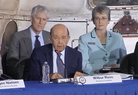 Secretary of Commerce Wilbur Ross speaking at the National Space Council meeting on Feb 21, 2018